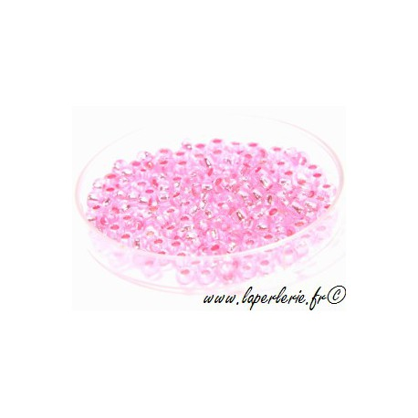 Seed beads 2mm ROSE  ARGENTEE (900 beads)