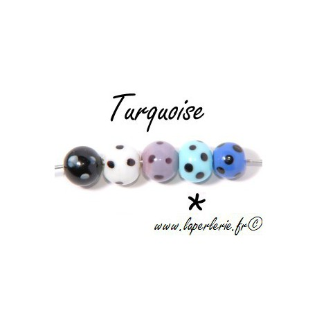 Round with black points TURQUOISE 12mm