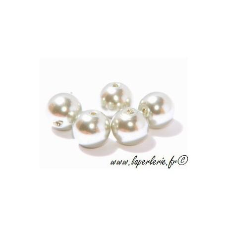 Round imitation pearl 6mm VERT NACRE x10