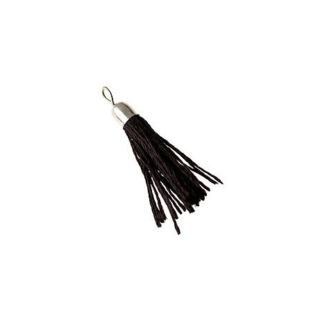 Pompon of thread with saucer silver color 35mm BLACK