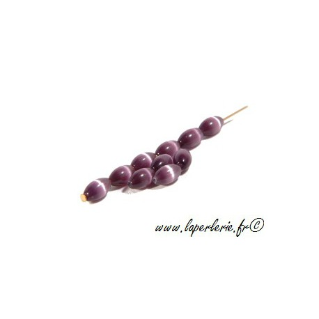 Grain de riz Oeil de chat 5X8mm AMETHYST x10