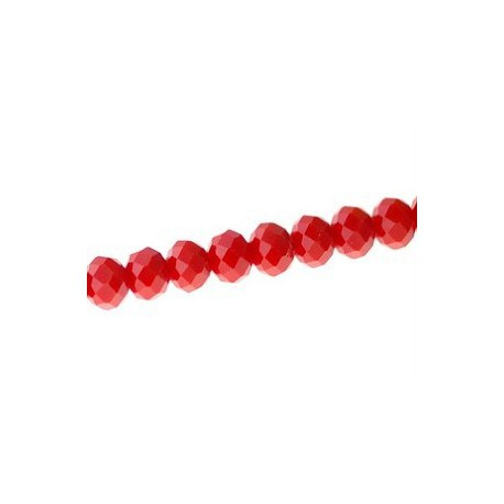 Flat round with facets 6x4mm ROUGE OPAQUE thread of 45cm