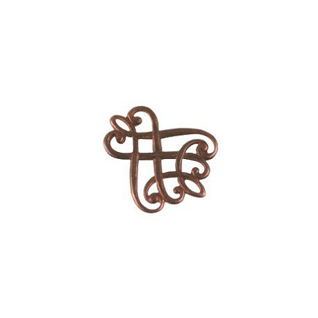 Interlaced stamp 20x25mm OLD COPPER x1