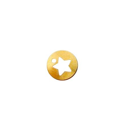 Star sequin 7mm  Gold plated 24Kt x1