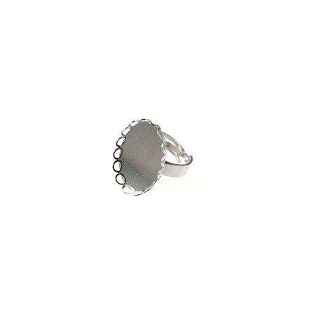 Soporte de anillo soporte para cabujón ovale dentado 18x13mm PLATEADO