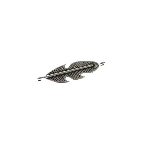 Spacer feather 2 rings 29x8mm OLD SILVER COLOR