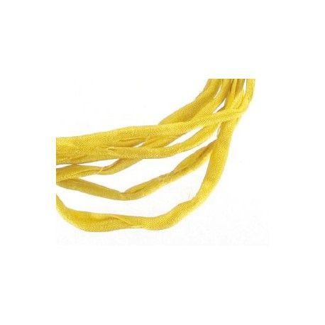 Cordón de seda enrollado Habotai 3mm YELLOW x1m