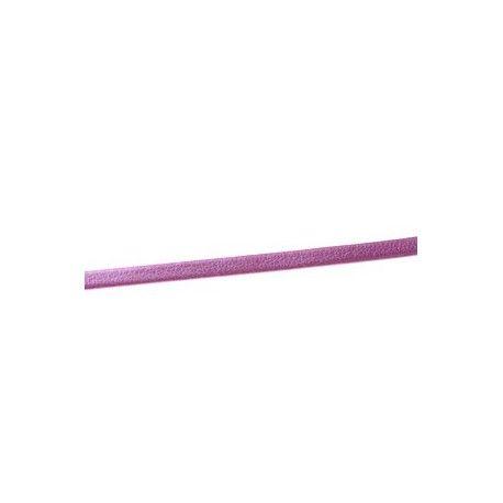 Lanière simili cuir repliée 3mm ROSE METALLISÉ x1m