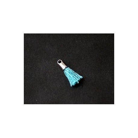 Mini pompon avec cloche argenté 12/15mm LIGHT TURQUOISE x2