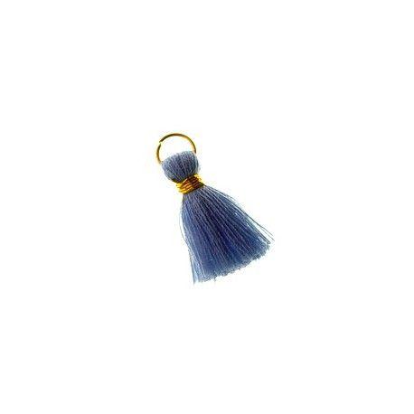 Pompon de fils avec anneau 20/22mm fil doré LIGHT BLUE x1