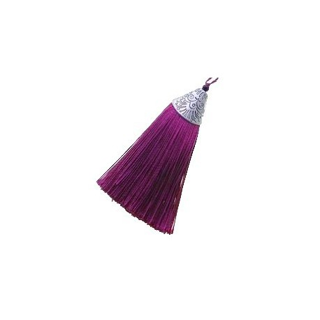 Pompon polyester calotte triangle 75mm AMETHYST