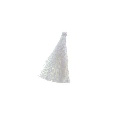 Pompon polyester soyeux 70mm WHITE