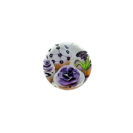 Cabochon loupe rond 20mm MUFFIN VIOLET