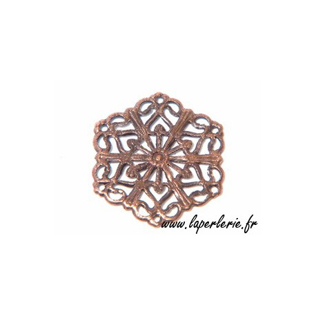 Hexagon stamp 20mm OLD COPPER TONE