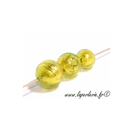 Ronde feuille d'or 10mm OLIVINE