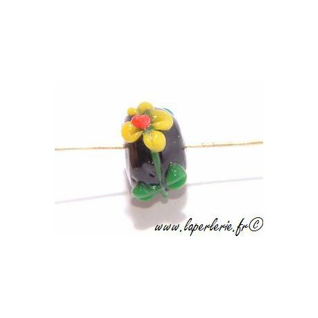 Rondelle 12mm fleurs en relief JET