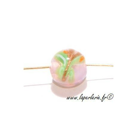 Ronde inclusion papillon 12mm ROSE OPAL