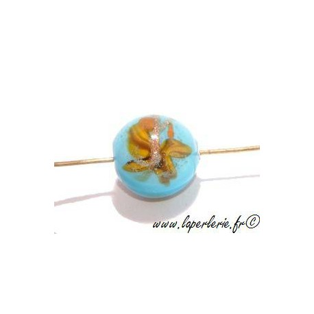 Ronde inclusion papillon 12mm TURQUOISE