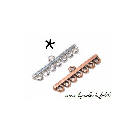 7 strands spacer before clasp 47x17mm SILVER COLOR x1
