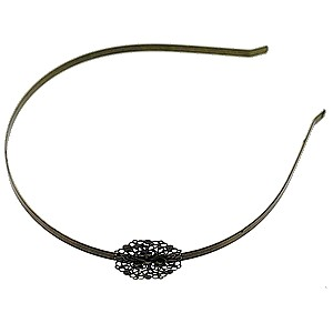 Headband with stamp circular 28mm BRONZE COLOR x1
