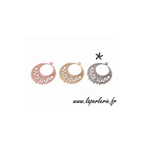 Filigreed earring 28x32mm TIN COLOR
