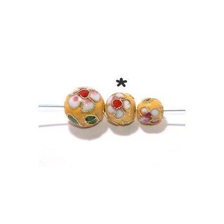 Cloisonnée chinoise ronde 10mm JAUNE