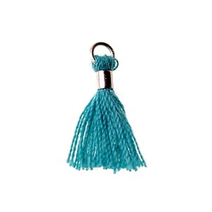 Pompon with silver tube 15/18mm TURQUOISE x1