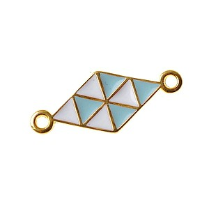 Diamond spacer enameled 22x9.1m GOLD COLOR/TURQUOISE/WHITE x1