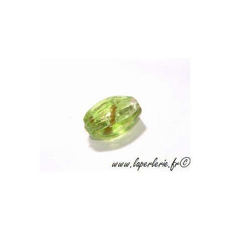 Olive feuille d'argent striée 16 mm OLIVINE