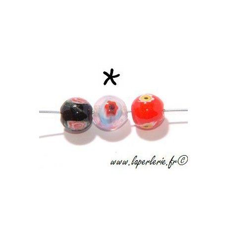 Ronde inclusion millefiori 10mm ROSE OPAL