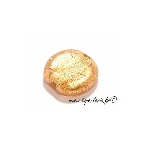 Ronde aplatie feuille d'or 26mm ROSE THE
