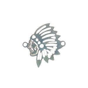 Intercalaire tête d'indien 18.5x17.5mm Plaqué Argent 10 microns x1