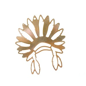 Indian Headdress Charm 39x33.5mmmm Gold Plated 5 Microns x1