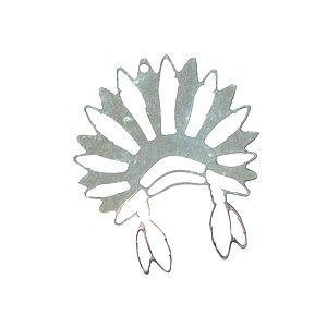 Pendentif coiffe d'indien 39x33.5mm Plaqué Argent 10 microns x1