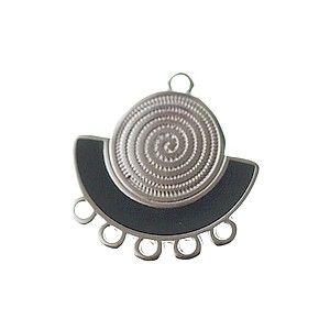 Chandelier demi-lune spirale émaillé 23.5x22.5mm ARGENTÉ/DARK GREY x1