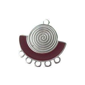 Chandelier demi-lune spirale émaillé 23.5x22.5mm ARGENTÉ/TERRACOTTA x1