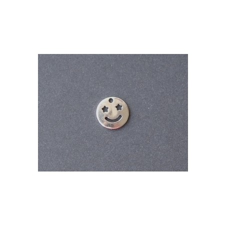 Smiley Star Eye Charm 10mm SILVER COLOR x2