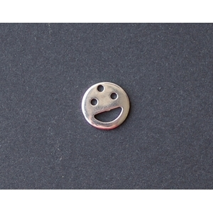 Smiley Charm 10mm SILVER COLOR x2