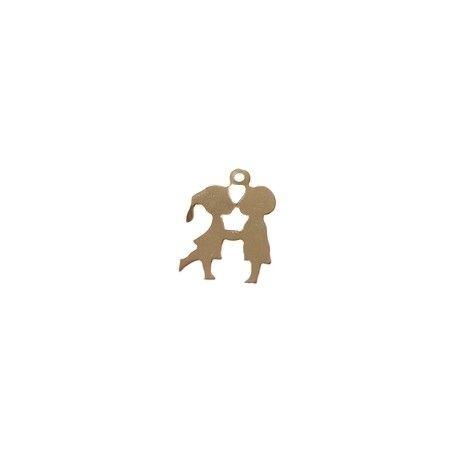 Children Kiss Charm 16.9x12.4mm GOLD FILLED x1