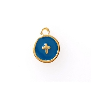 Round enamel charm with cross 10 x 12.5mm GOLD/ PETROL BLUE  x1