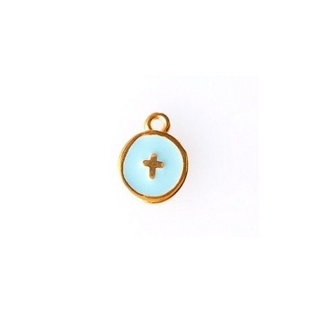Round enamel charm with cross 10 x 12.5mm GOLD/ TURQUESE  x1