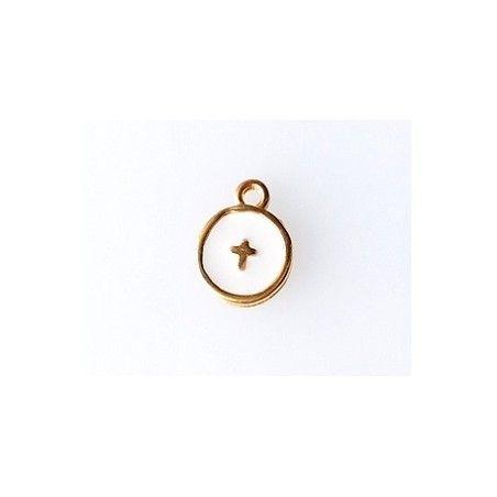Round enamel charm with cross 10 x 12.5mm GOLD/  ÉCRU   x1