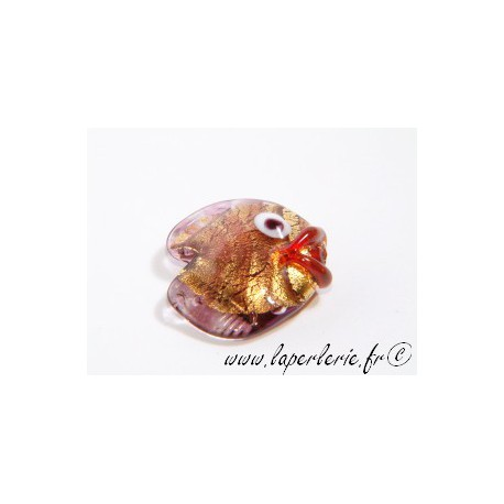 Poisson 20mm inclusion feuille d'or AMETHYST