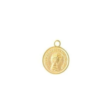 Charm Queen Elisabeth 13mm GOLD COLOR x1