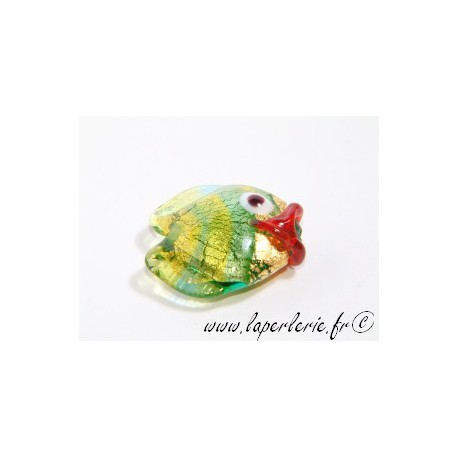 Poisson 20mm inclusion feuille d'or PERIDOT