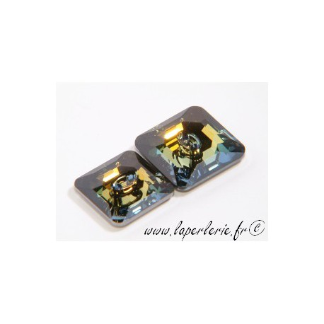 Square button 3017 16mm CRYSTAL TABAC