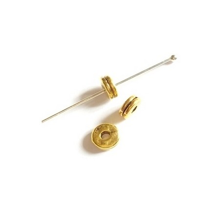 Rondelle 1 strie 6.5 x 2.5mm OLD GOLD COLOR x 10