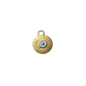 Charm lucky eye enameled sun 9.60 x 12.2mm GOLD/TURQUOISE COLOR x1