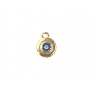 Charm lucky eye enameled  8.60 x 11.30mm GOLD/BLUE COLOR x1