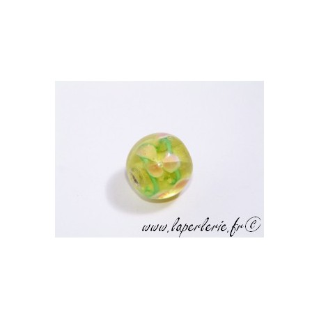 Ronde inclusion 3 fleurs 12mm LIGHT PERIDOT